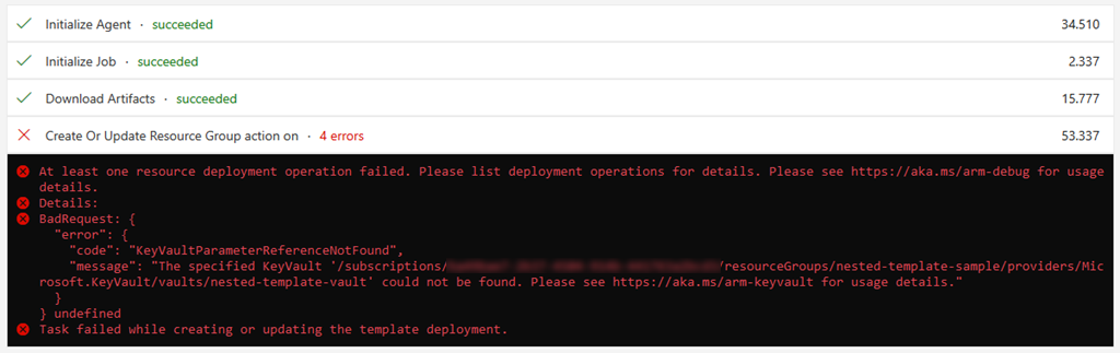 error when deploying